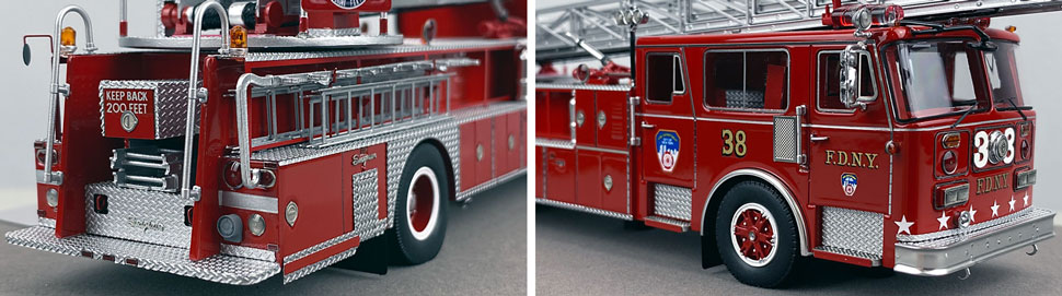 Closeup pictures 11-12 of the FDNY's 1983 Ladder 38 scale model