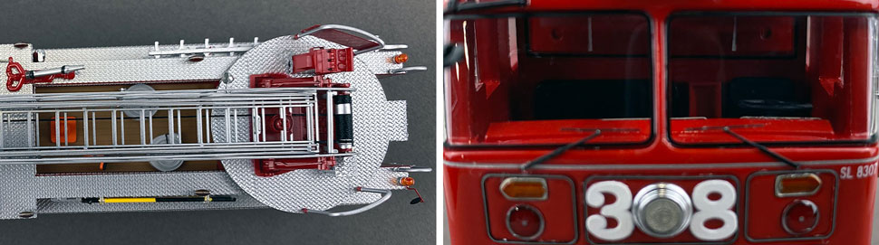Closeup pictures 13-14 of the FDNY's 1983 Ladder 38 scale model