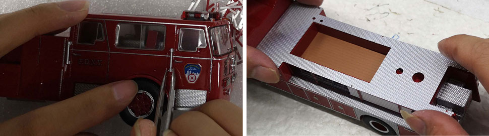 FDNY's 1983-85 Seagrave 100' Ladder scale model assembly pictures 9-10