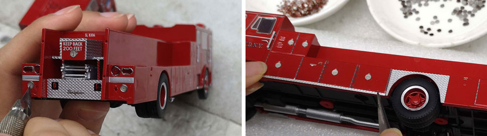 FDNY's 1983-85 Seagrave 100' Ladder scale model assembly pictures 11-12