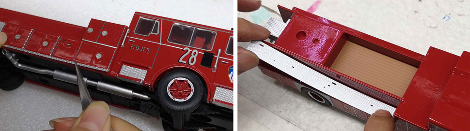 FDNY's 1983-85 Seagrave 100' Ladder scale model assembly pictures 13-14