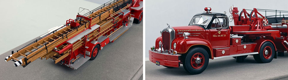 Close up pics 1-2 of Chicago's 1960 Mack B Tractor with FWD 85' Aerial scale model