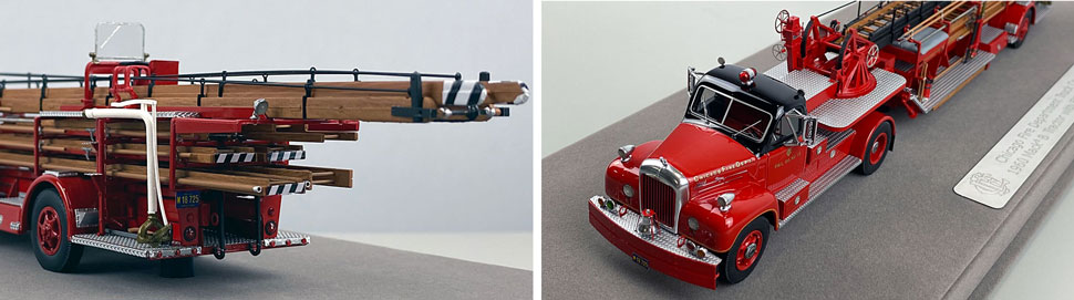 Close up pics 3-4 of Chicago's 1960 Mack B Tractor with FWD 85' Aerial scale model