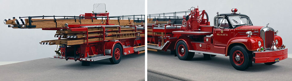 Close up pics 5-6 of Chicago's 1960 Mack B Tractor with FWD 85' Aerial scale model