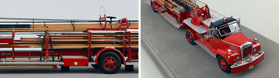Close up pics 7-8 of Chicago's 1960 Mack B Tractor with FWD 85' Aerial scale model