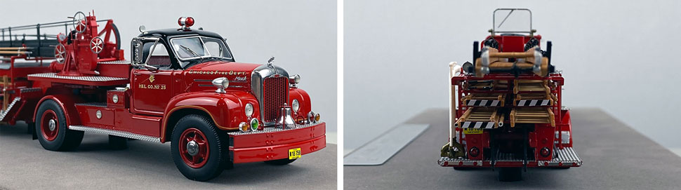 Close up pics 9-10 of Chicago's 1960 Mack B Tractor with FWD 85' Aerial scale model