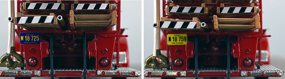 Rear license plate differences between Chicago Fire Department Hook & Ladder 15 and 25