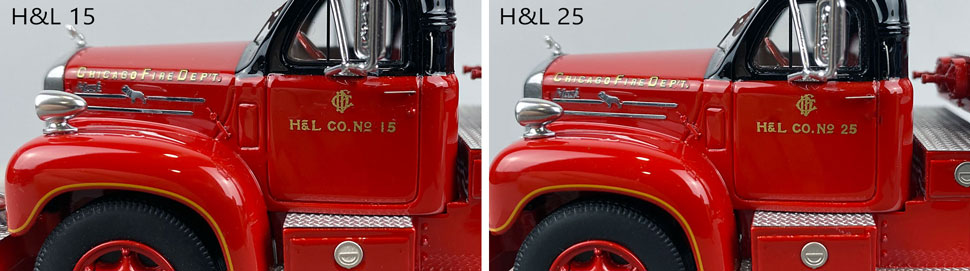 Door decal differences between Chicago Fire Department Hook & Ladder 15 and 25