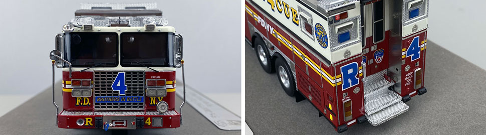Closeup pictures 1-2 of the 1:50 scale model of FDNY Rescue 4 in Queens