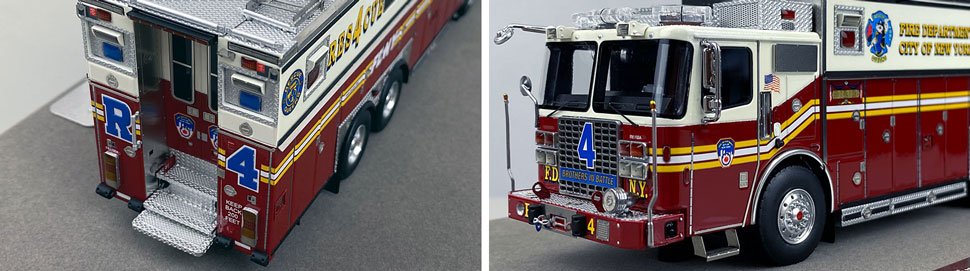 Closeup pictures 3-4 of the 1:50 scale model of FDNY Rescue 4 in Queens