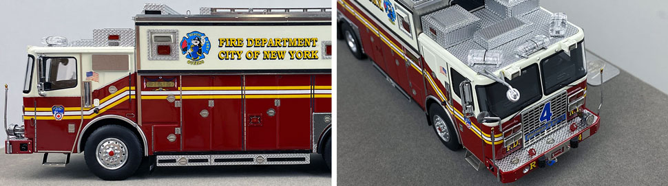 Closeup pictures 5-6 of the 1:50 scale model of FDNY Rescue 4 in Queens