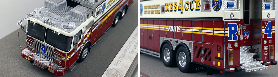 Closeup pictures 7-8 of the 1:50 scale model of FDNY Rescue 4 in Queens