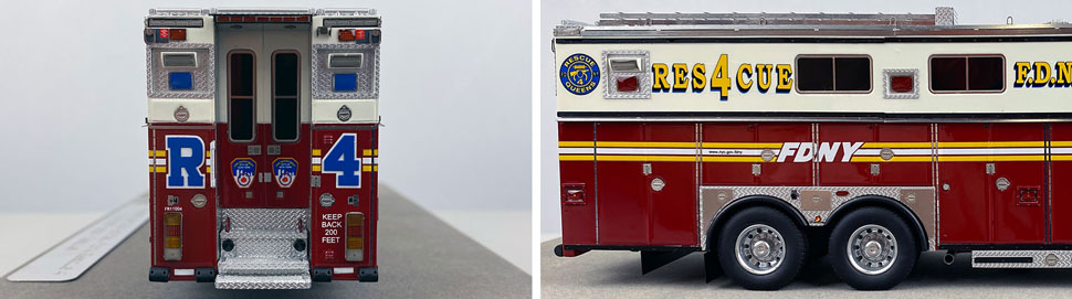 Closeup pictures 9-10 of the 1:50 scale model of FDNY Rescue 4 in Queens