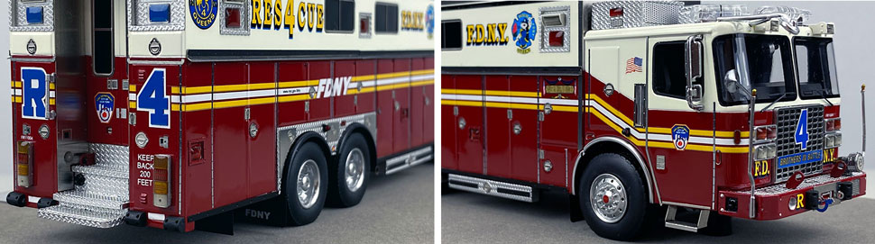 Closeup pictures 11-12 of the 1:50 scale model of FDNY Rescue 4 in Queens