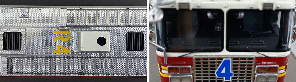 Closeup pictures 13-14 of the 1:50 scale model of FDNY Rescue 4 in Queens