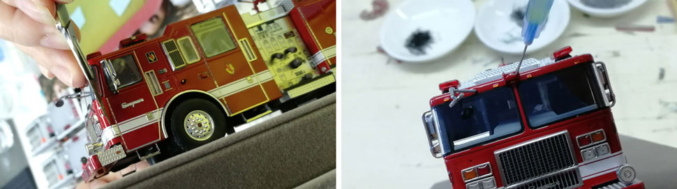 Assembly pics 5-6 of Limited Edition Seagrave Rescue Pumper scale model