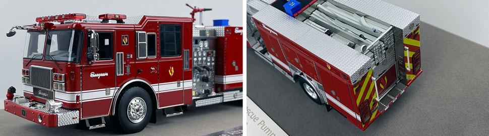 Closeup pics 1-2 of Seagrave Rescue Pumper scale model