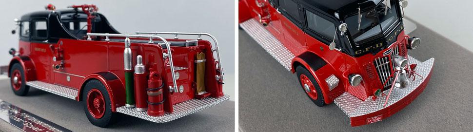 Closeup pics 7-8 of Chicago Fire Department 1952 Autocar Squad 2 scale model