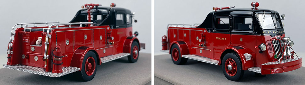 Closeup pics 3-4 of Chicago Fire Department 1952 Autocar Squad 2 scale model