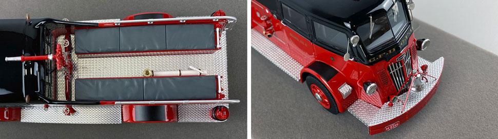 Closeup pics 13-14 of Chicago Fire Department 1952 Autocar Squad 6 scale model