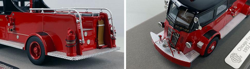 Closeup pics 5-6 of Chicago Fire Department 1952 Autocar Squad 6 scale model