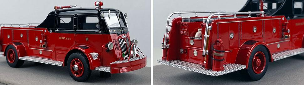 Closeup pics 1-2 of Chicago Fire Department 1952 Autocar Squad 6 scale model