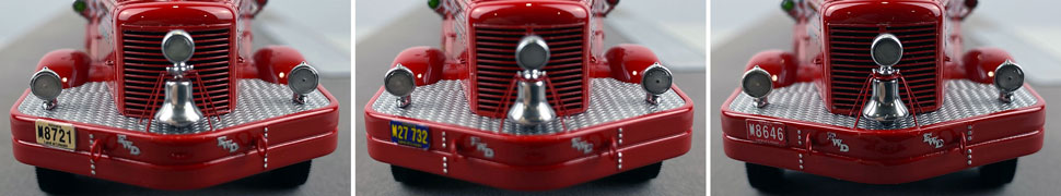 Front license plate differences between Chicago Fire Department Hook & Ladder 21, 32 and 46