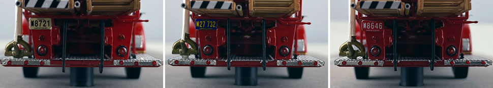 Rear license plate differences between Chicago Fire Department Hook & Ladder 21, 32 and 46