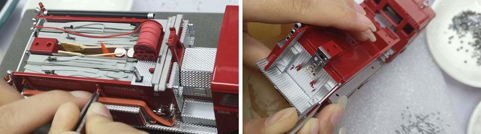 Assembly pics 1-2 of FDNY Mack CF Telesqurt Engine 70 scale model
