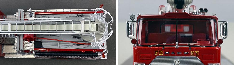 Closeup pics 7-8 of FDNY Engine 70 - 1970 Mack CF Telesqurt scale model