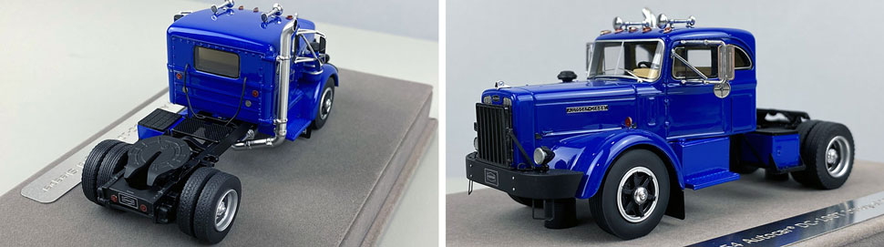 Close up pics 3-4 of 1954 Autocar DC-100T Integral Sleeper scale model in blue over black