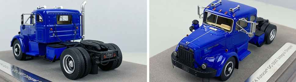Close up pics 7-8 of 1954 Autocar DC-100T Integral Sleeper scale model in blue over black