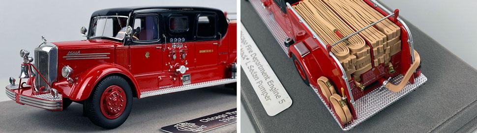 Closeup pics 3-4 of Chicago Fire Department 1948 Mack L Sedan Cab Engine 5 scale model