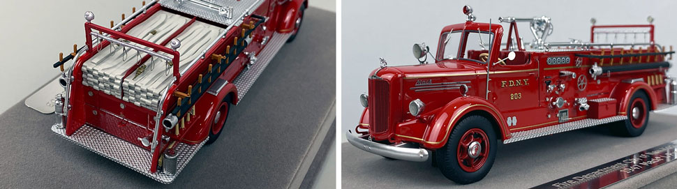 Closeup pics 3-4 of FDNY Mack L Pumper Engine 203 scale model