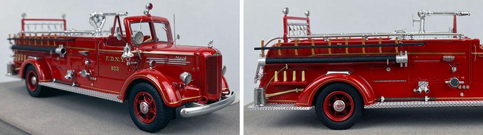 Closeup pics 13-14 of FDNY Mack L Pumper Engine 203 scale model
