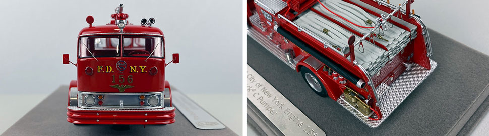 Close up images 1-2 of FDNY 1958 Mack C Engine 156 scale model