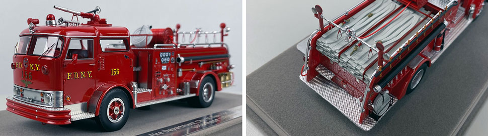 Close up images 11-12 of FDNY 1958 Mack C Engine 156 scale model