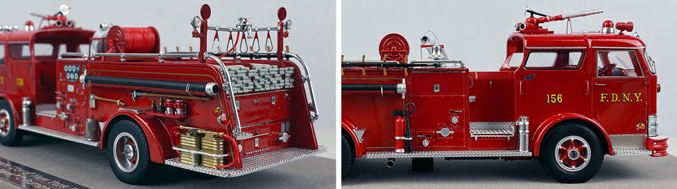 Close up images 7-8 of FDNY 1958 Mack C Engine 156 scale model