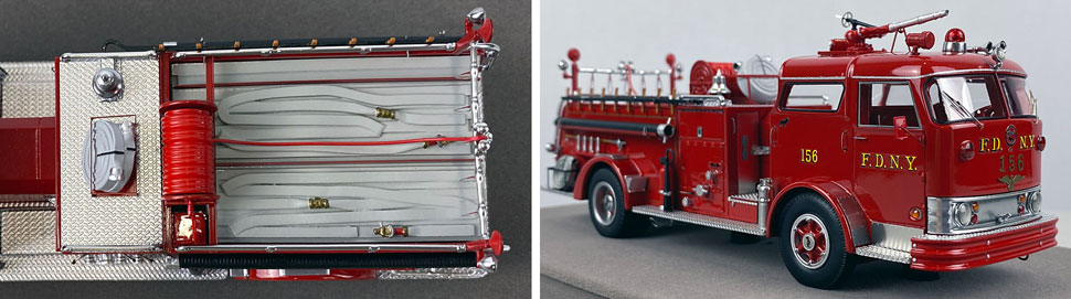 Close up images 5-6 of FDNY 1958 Mack C Engine 156 scale model