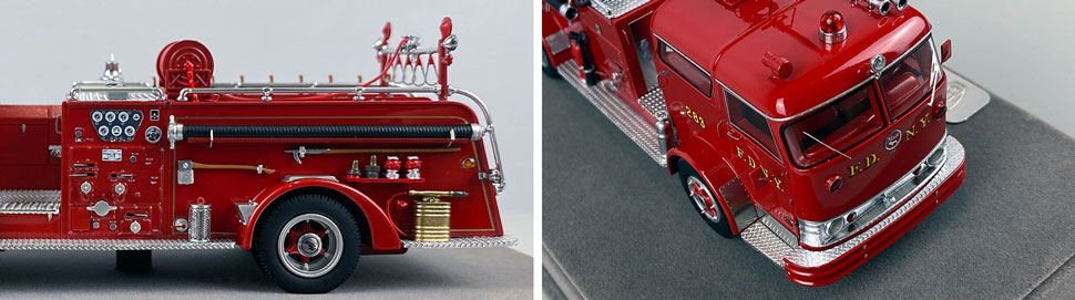 Close up images 11-12 of FDNY 1958 Mack C Engine 283 scale model