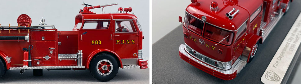 Close up images 1-2 of FDNY 1958 Mack C Engine 283 scale model