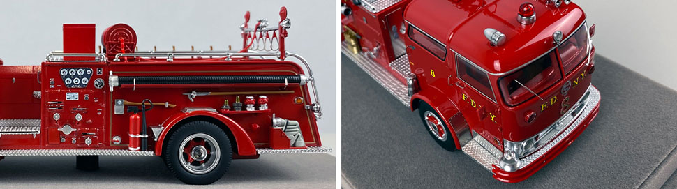 Close up images 7-8 of FDNY 1958 Mack C Engine 8 scale model