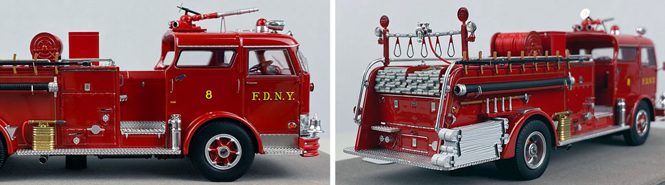 Close up images 1-2 of FDNY 1958 Mack C Engine 8 scale model