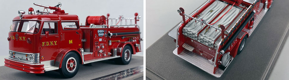 Close up images 9-10 of FDNY 1958 Mack C Engine 94 scale model