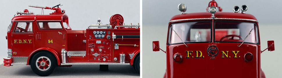Close up images 7-8 of FDNY 1958 Mack C Engine 94 scale model