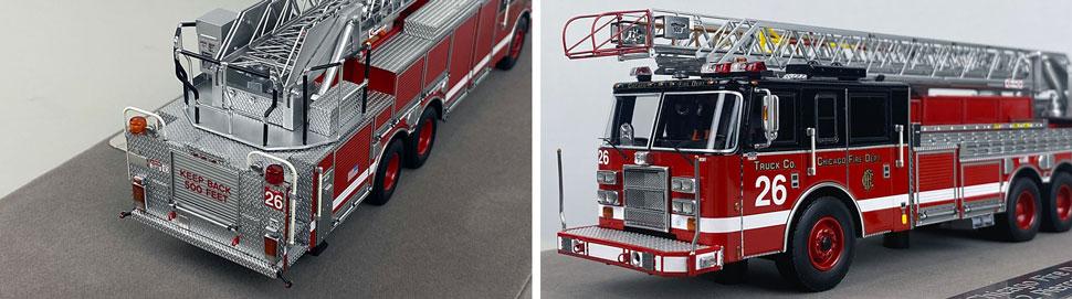 Closeup pics 1-2 of Chicago Fire Department Pierce Truck 26 scale model