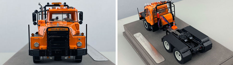 Closeup pictures 1-2 of the Mack DM 800 Tandem Axle Tractor scale model in orange over black.
