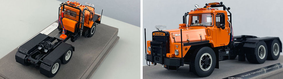 Closeup pictures 3-4 of the Mack DM 800 Tandem Axle Tractor scale model in orange over black.