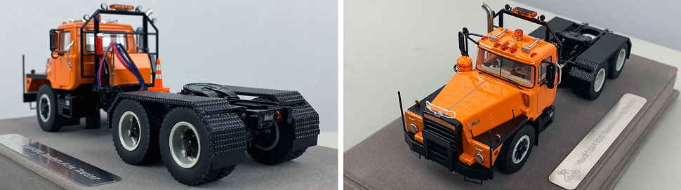 Closeup pictures 7-8 of the Mack DM 800 Tandem Axle Tractor scale model in orange over black.