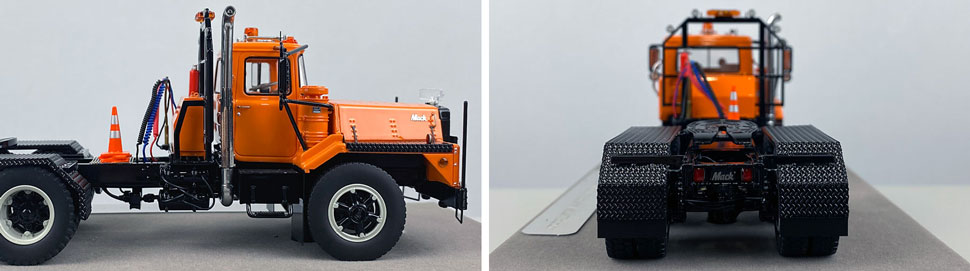Closeup pictures 11-12 of the Mack DM 800 Tandem Axle Tractor scale model in orange over black.